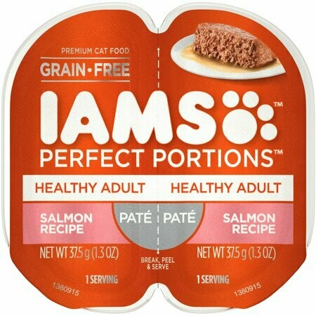 Iams Perfect Portions Pate Healthy Adult Salmon Recipe Wet Cat Food 2.6 oz Twin-Pack Tray (8/19) (A.J2/CW)