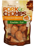 Premium Pork Chomps Drumstickz Chicken Dog Treats, Small 8 count (1/19) (A.R3)