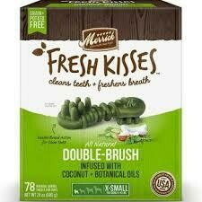 **BOGO** Merrick Fresh Kisses Double-Brush Coconut Oil & Botanicals Extra Small Dental Dog Treat - 40 Count #66016 (3/19) (A.K4/T.A4)