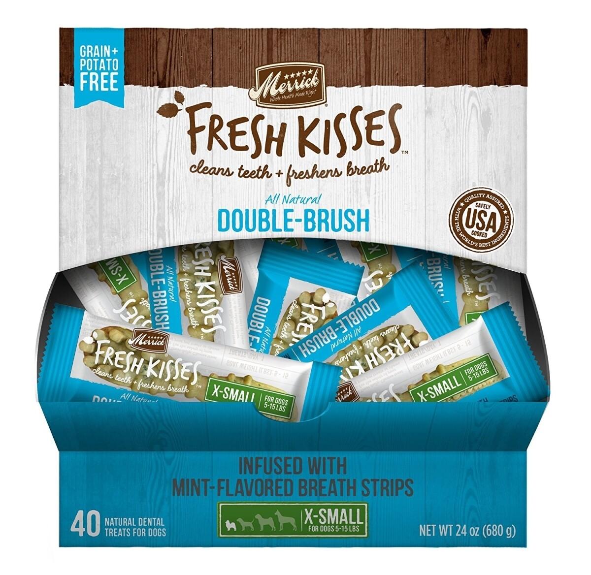 **BOGO** Merrick Fresh Kisses Mint Breath Strips Extra Small Dental Dog Treat - 40 Count #66036 (1/19) (A.L4)