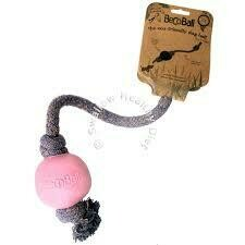 Beco Ball on Rope - Natural Rubber Ball and Cotton Rope Tug and Chew Toy for Dogs - L - Pink (B.C4/TOY)