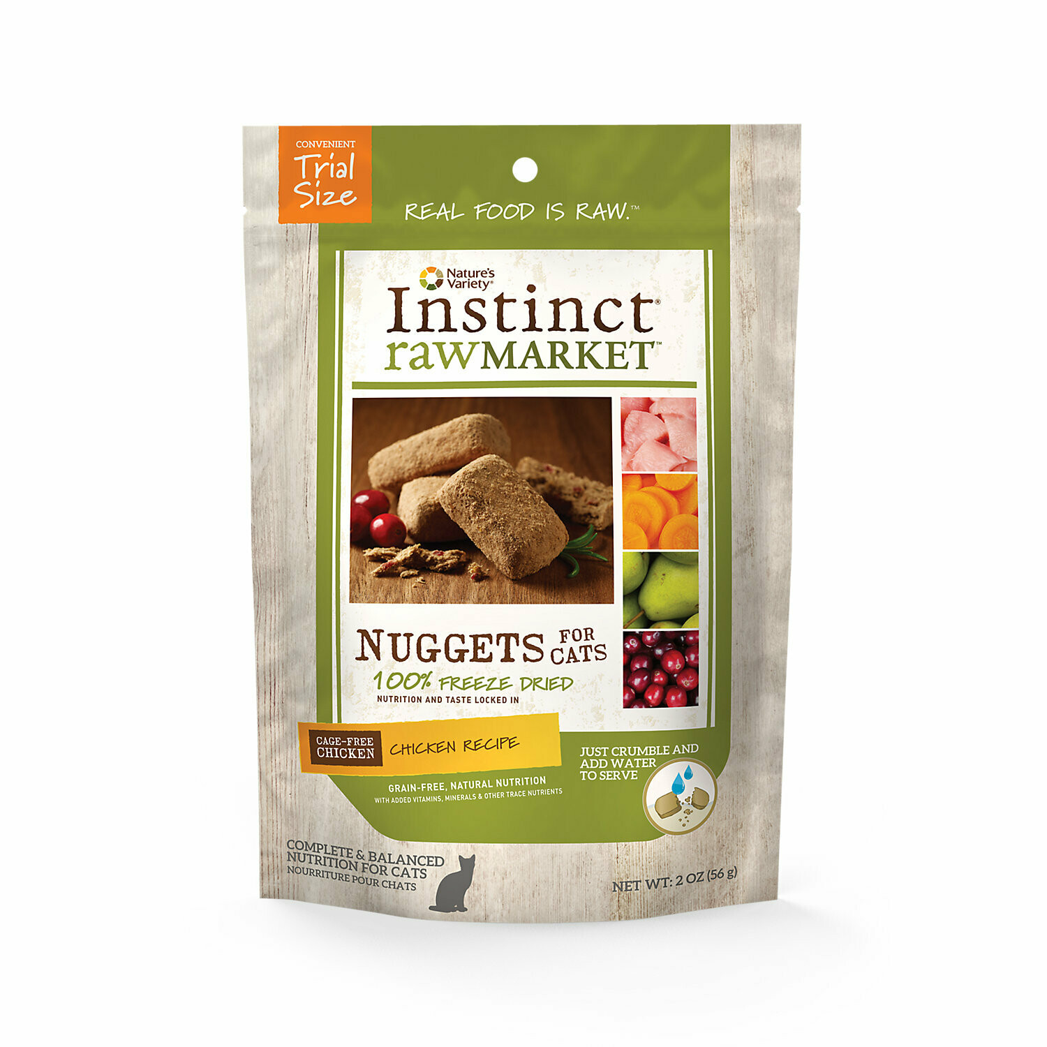 Instinct Raw Market Meal Bars Chicken Formula Freeze Dried Food for Cats, 2oz. (10/19) (T.A14)