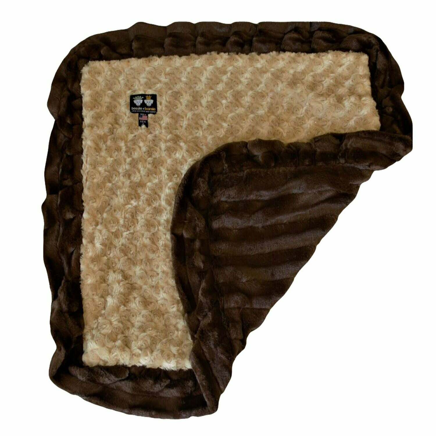 Bessie And Barnie Pet Blanket, Small, Camel Rose/godiva Brown With Ruffle (RPAL15/AM5)