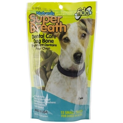 Fido Super Breath Dental Dog Bones with added Chlorophyll, Small 8 oz (8/19) (T.E13)