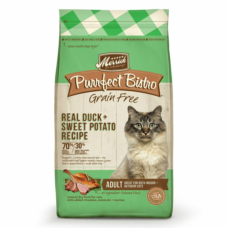 Merrick Purrfect Bistro Grain-Free Real Duck + Turkey Recipe Dry Cat Food, 7 lb (8/19) (A.J4/M3)
