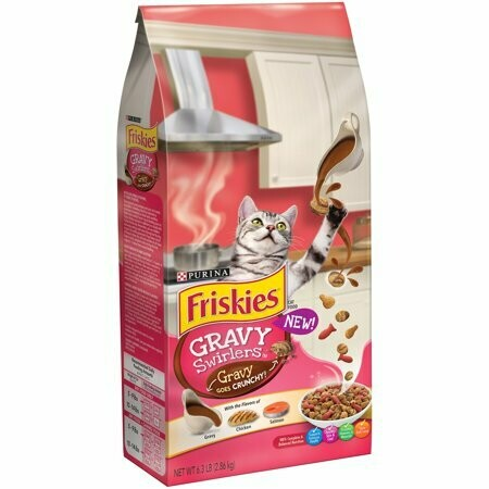 Purina Friskies Gravy Swirlers Adult Dry Cat Food Chicken & Salmon 6.3 pounds (11/19) (A.I4)