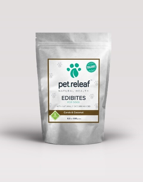 **SALE** Pet Releaf ECC100 Carob Coconut CBD Hemp Oil Edibites for Dogs 6.5 oz (11/18)