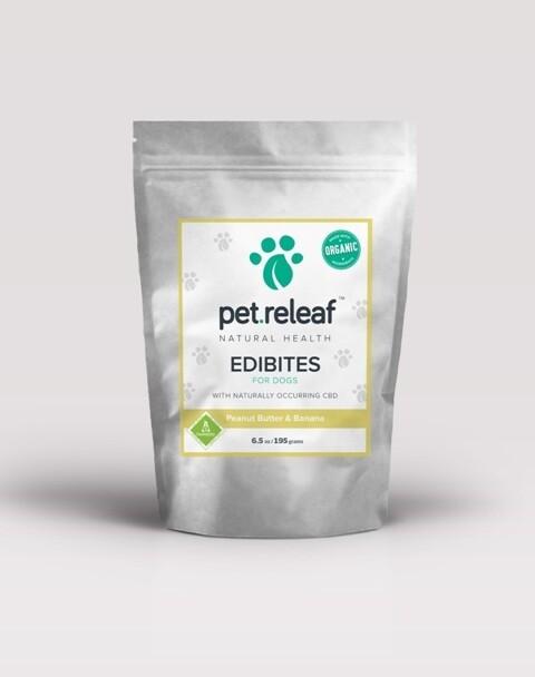**SALE** Pet Releaf EPB100 Peanut Butter Banana CBD Hemp Oil Edibites for Dogs, 6. 5 oz (2/19) **BAG DESIGN MAY DIFFER**