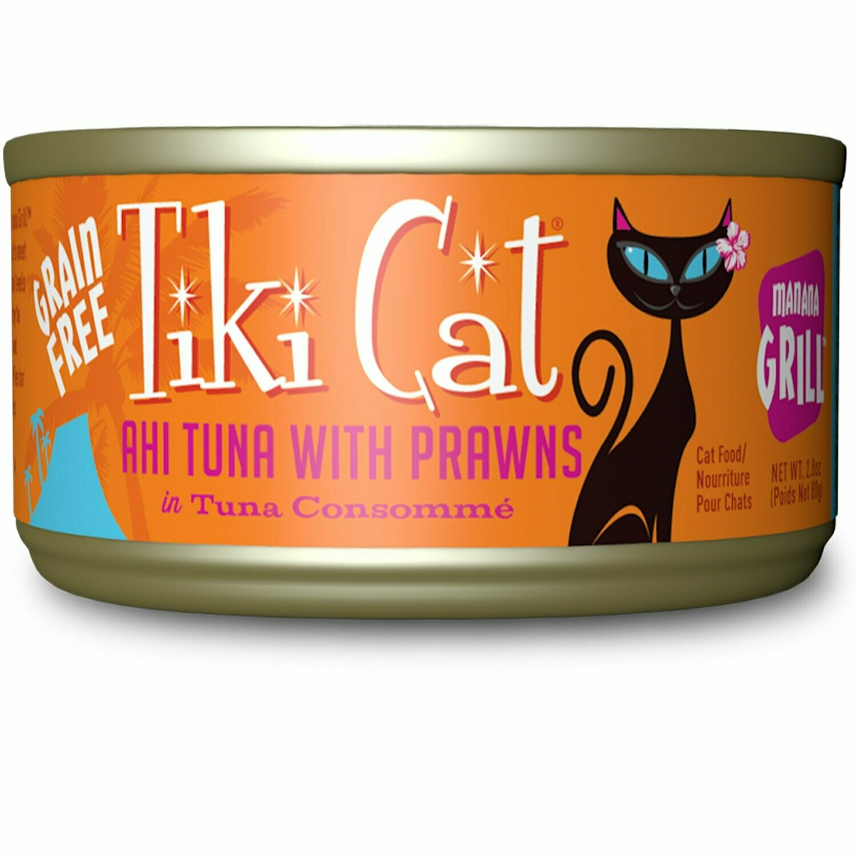 Tiki Cat Manana Grill Ahi Tuna Prawns Wet Cat Food, 2.8 oz., Case of 12 (11/20) (A.J2)