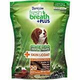 TropiClean Fresh Breath Plus Skin & Coat Dental Dog Chews 20 count Small Dogs (1/19) (T.E6)