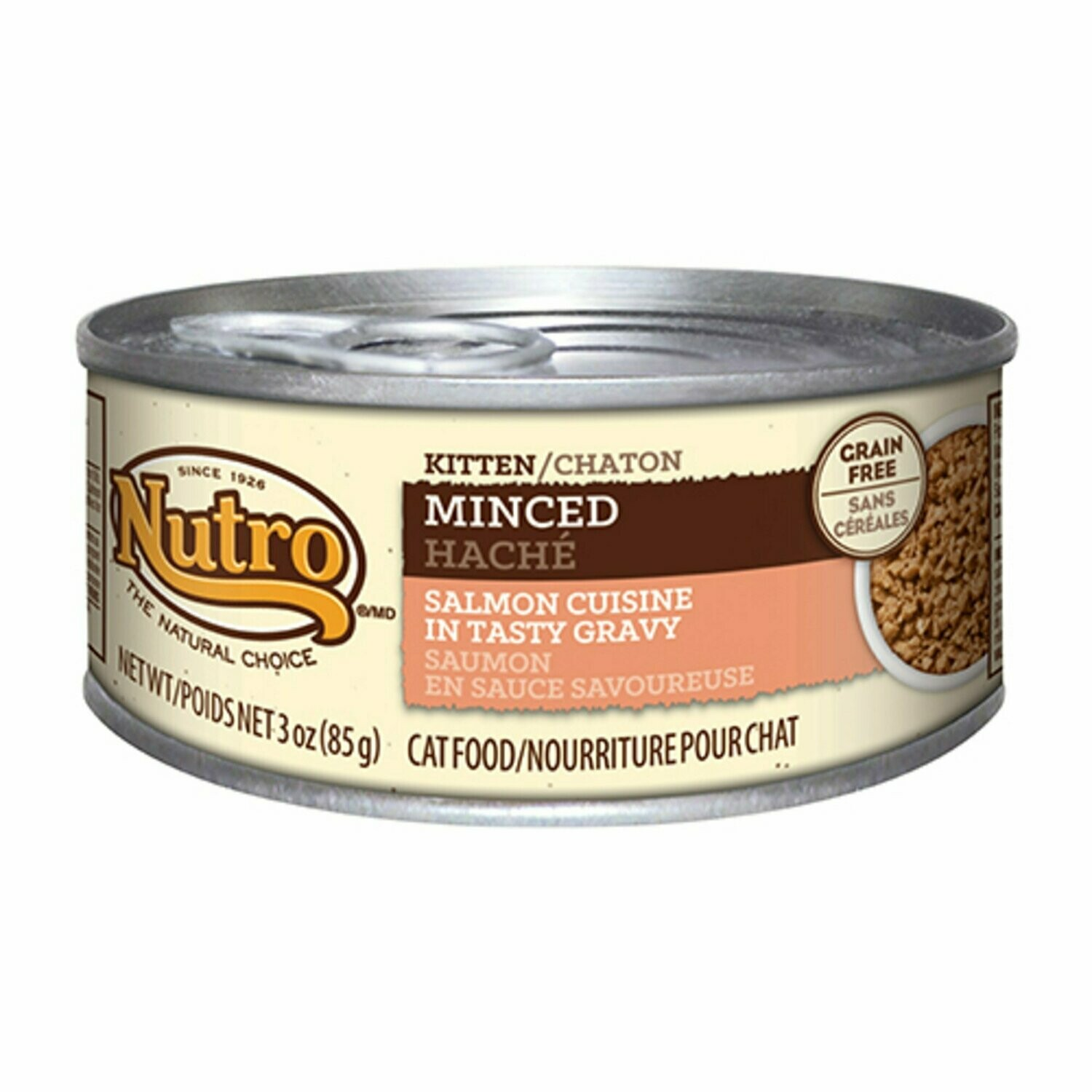 Nutro Natural Choice Minced Salmon Canned Kitten Food, Case of 24, 3 oz. (10/19) (A.J3)