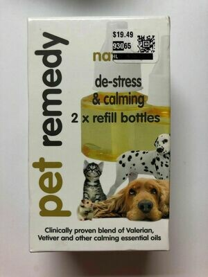 Pet Remedy Refill Natural Stress Reliever Calming Relaxation 2 Refill Bottles (O.P2/PR)