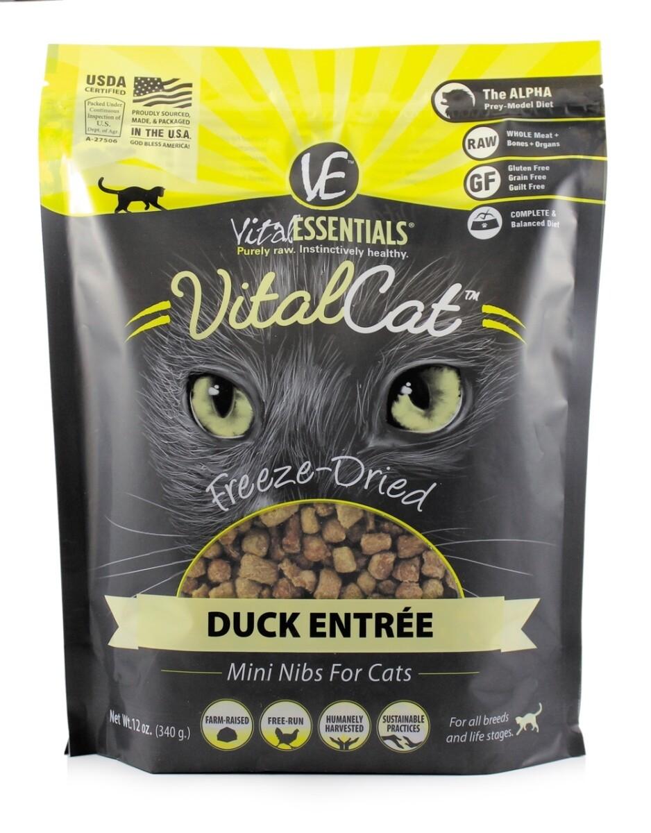 Vital Essentials - VitalCat Freeze-Dried Duck Mini Nibs for Cats (12 oz) (2/19) (A.Q2)