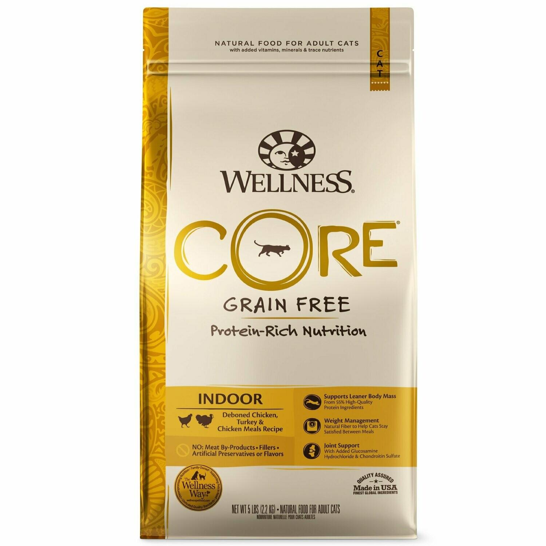 Wellness CORE Natural Grain Free Dry Cat Food, Indoor Chicken & Turkey Recipe, 5 lbs (10/19) (A.J3)
