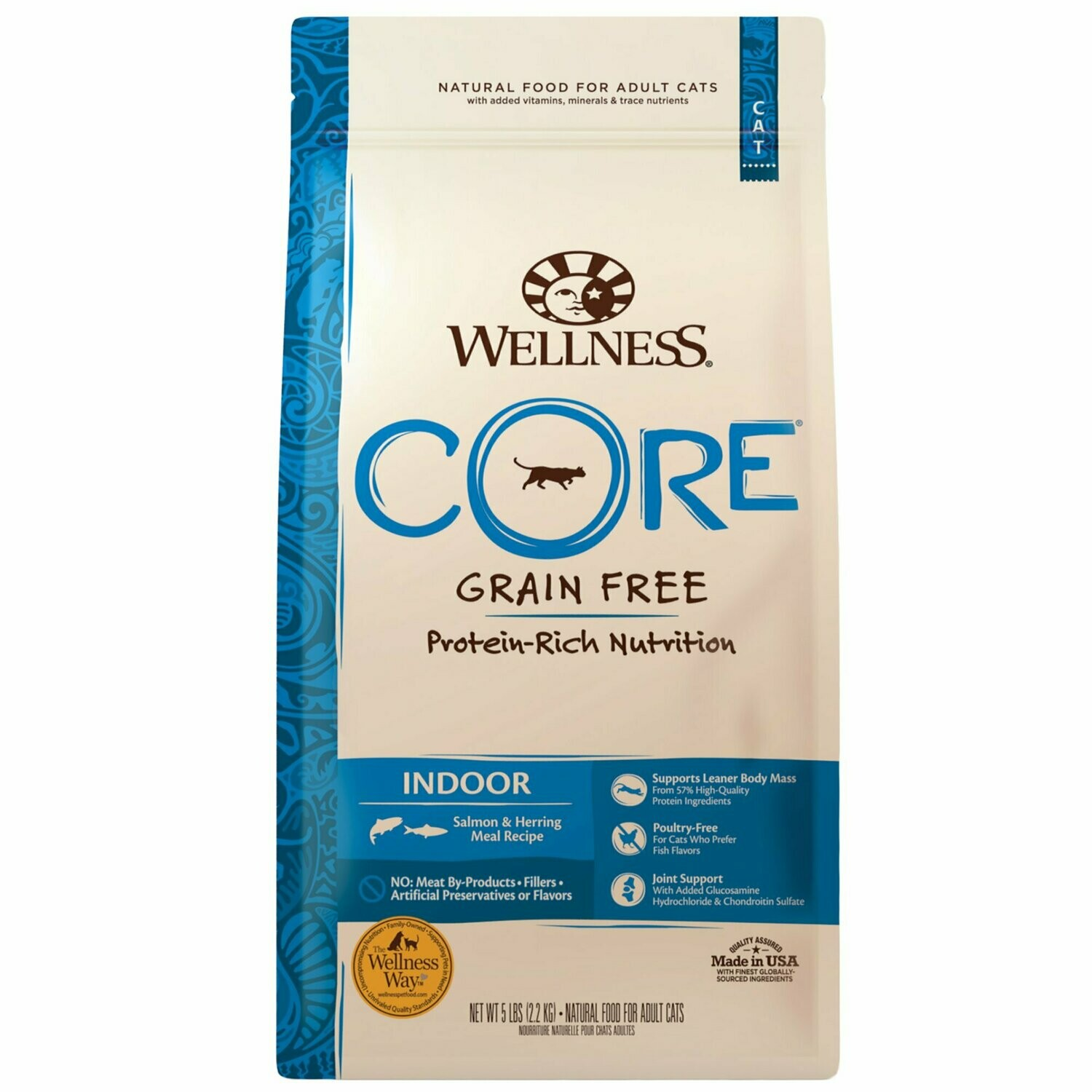 Wellness CORE Natural Grain Free Indoor Salmon & Herring Dry Cat Food, 5 lbs. (9/19) (A.F2)