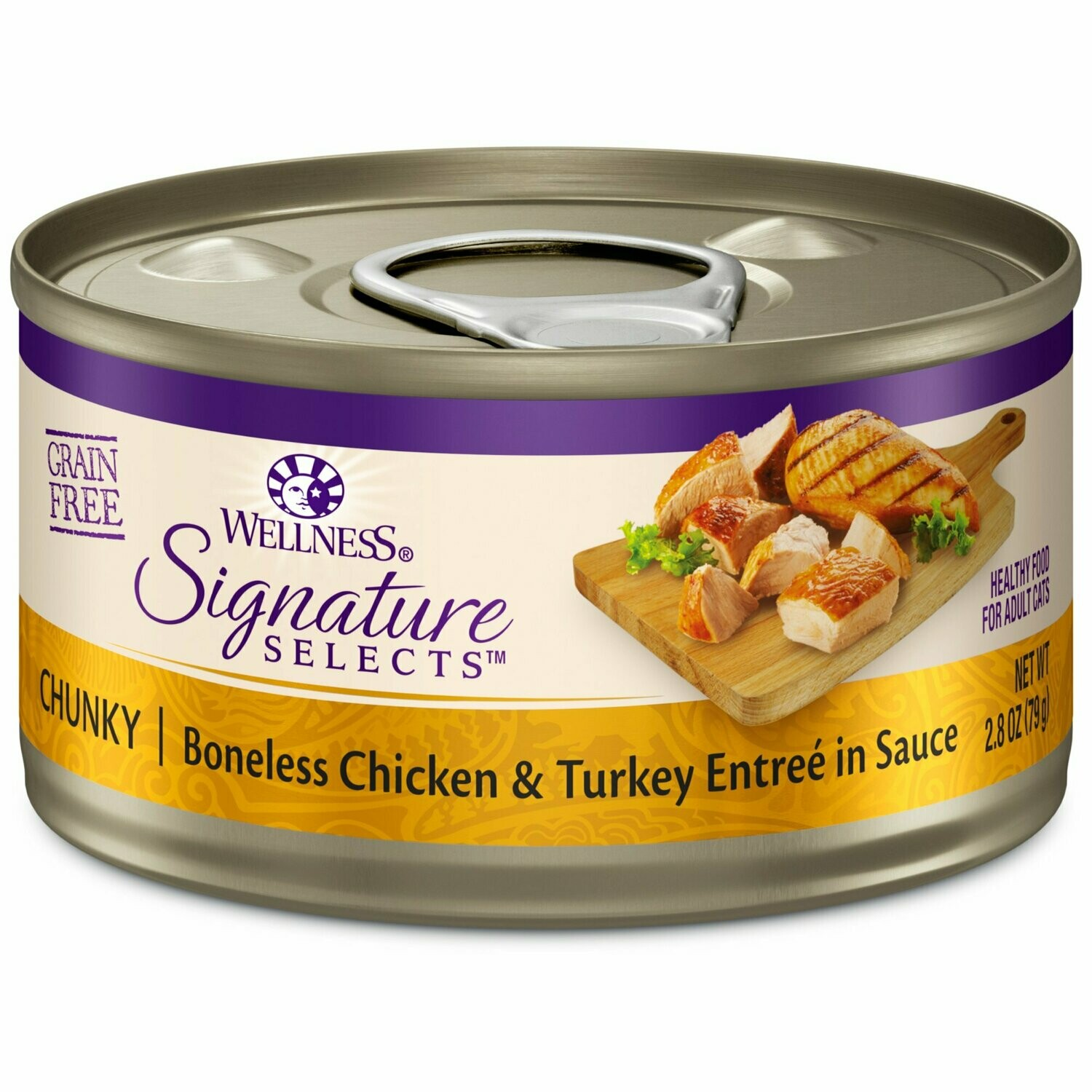 Wellness CORE Signature Selects Natural Grain Free Wet Canned Cat Food, Chunky Tukey 2.8 oz 12 count (10/19) (A.J3)