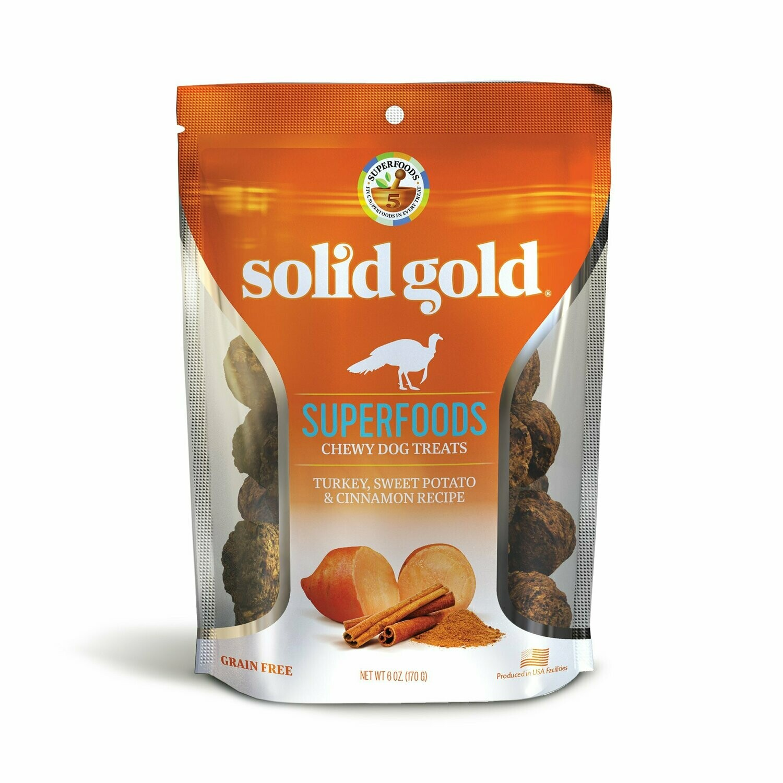 Solid Gold Superfoods Turkey, Sweet Potato & Cinnamon Recipe Grain-Free Dog Treats 6 oz (1/19) (T.B4/DT)