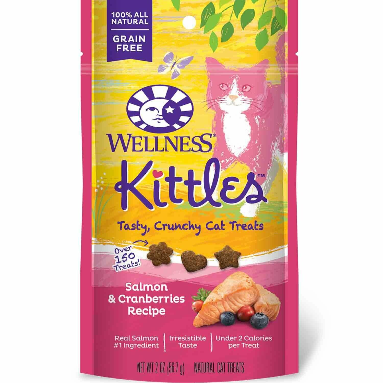 Wellness Kittles Crunchy Natural Grain-Free Salmon & Cranberry Cat Treats, 2 Oz (10/19) (T.C8)