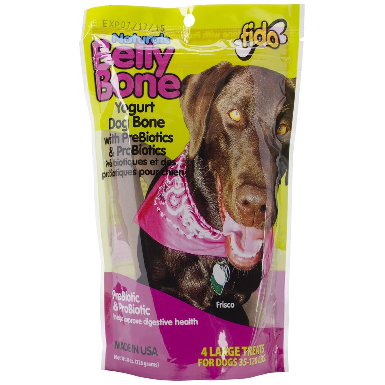 Fido Belly Dog Bone, Digestion Aid w/ Prebiotic & Probiotic Enzymes for Dogs, Large (8 oz Bag)
