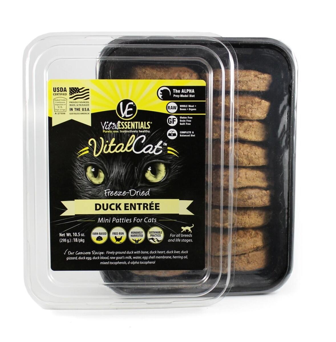 Vital Essentials Freeze-Dried Duck Mini Patties Cat Food 10.5 oz  (1/19) (A.O8)