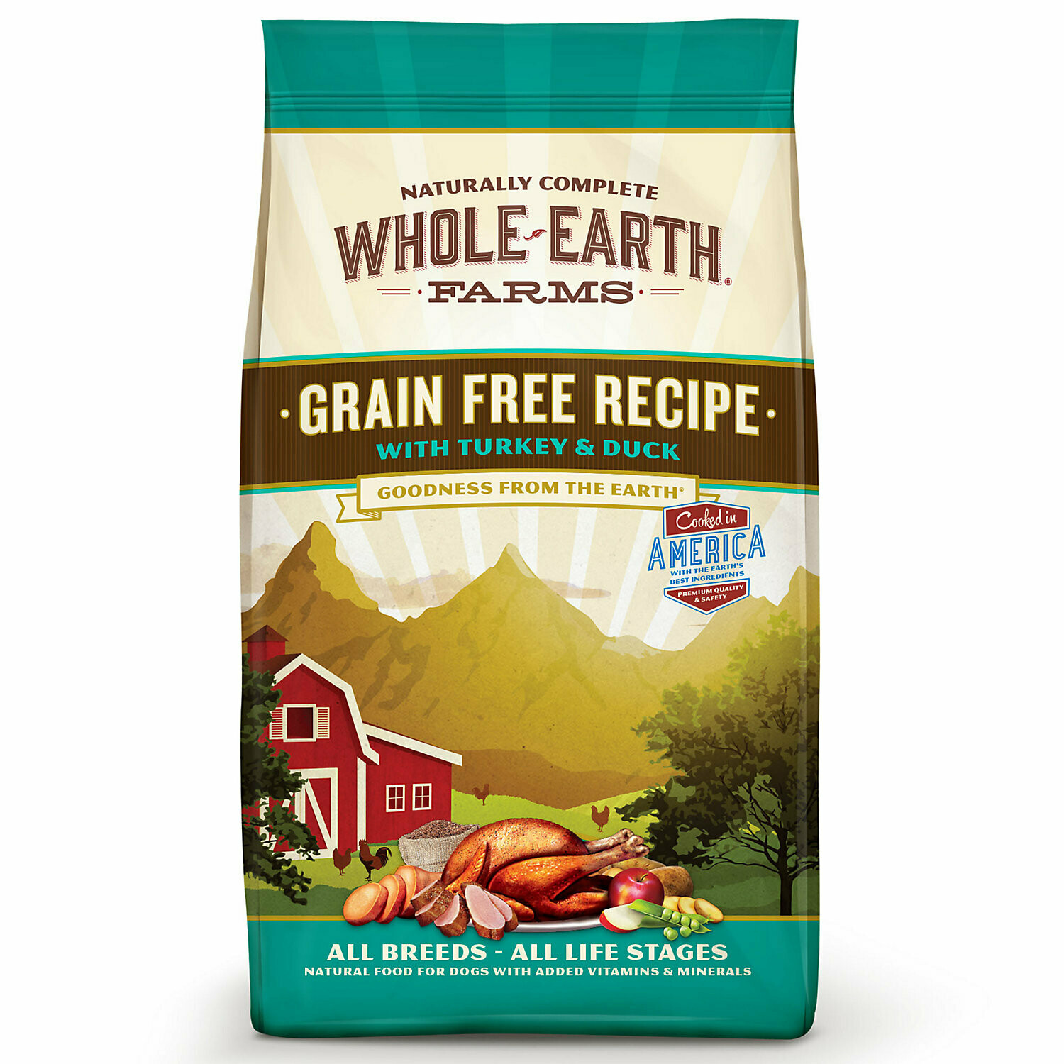 Whole Earth Farms Grain-Free Turkey Duck Recipe dry Dog Food 4 lbs (10/19) (A.J3)