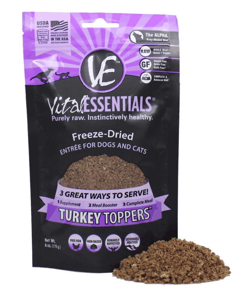 Vital Freeze-Dried Turkey Toppers For Cats & Dogs 6oz Bag (4/19) (T.A12)