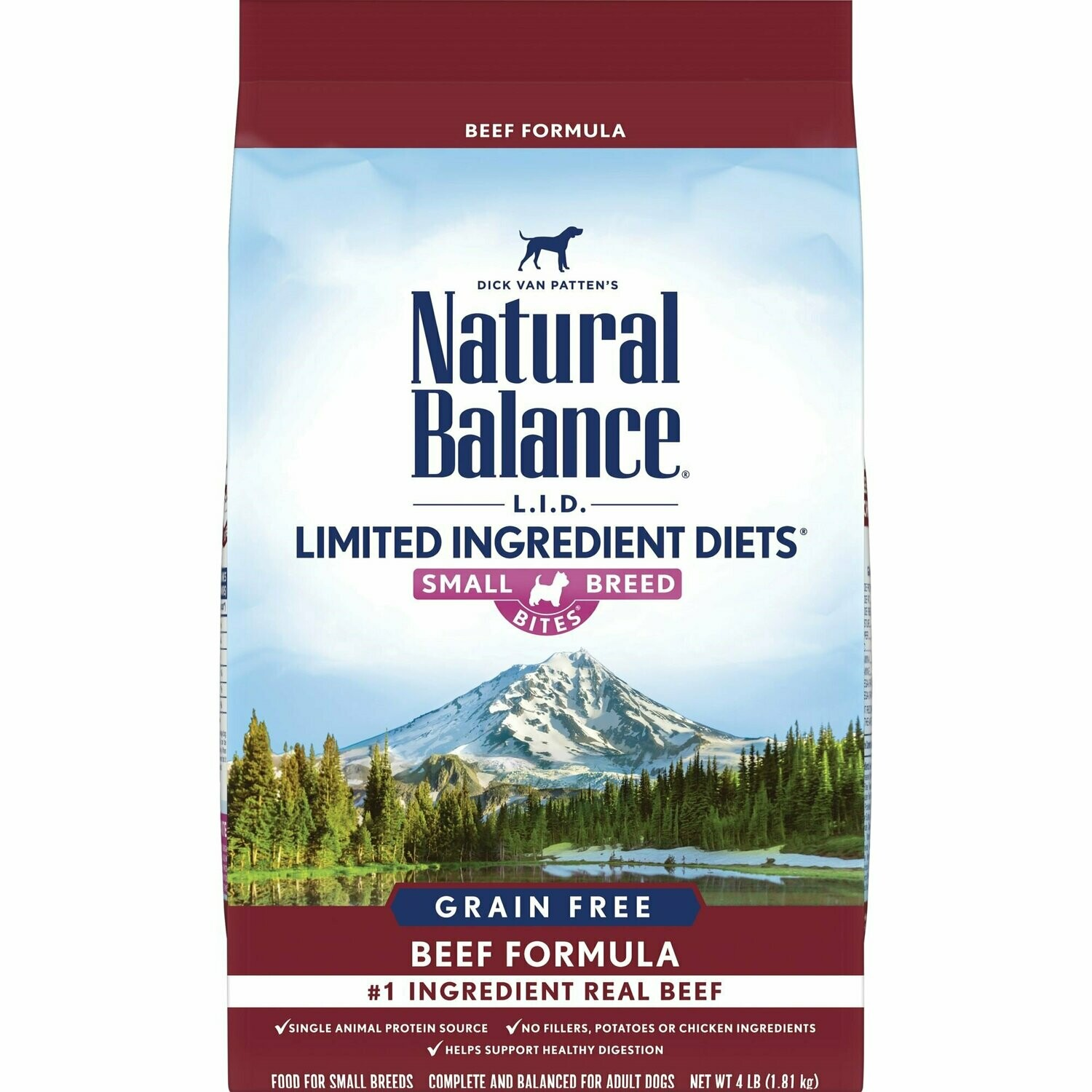 Natural Balance L.I.D. Limited Ingredient Diets Grain Free - High Protein Beef Small Breed Dry Dog Food 4 lbs (7/19) (A.G2)