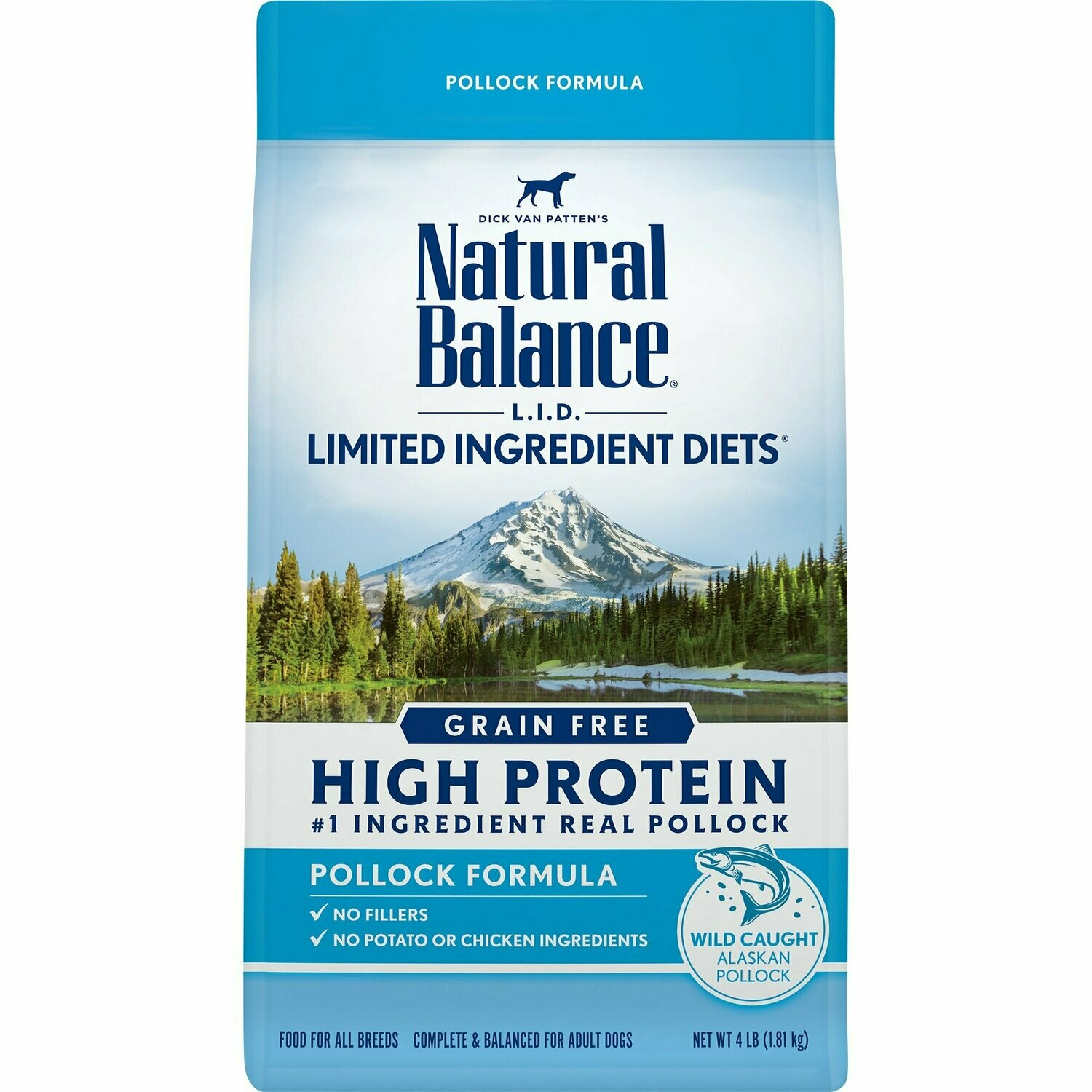 Natural Balance Limited Ingredient Diets High Protein Grain Free Pollock Formula Dry Dog Food 4 lbs. (6/19) (A.G2)
