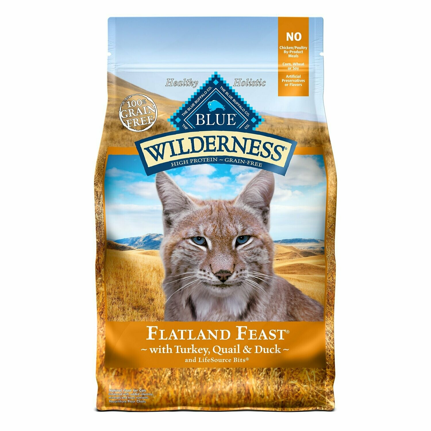 Blue wilderness 100% grain free Flatland feast with turkey quail and duck for cats 4 pounds (9/19)
