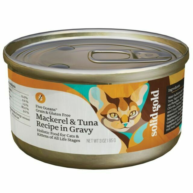 Solid Gold Shreds In Gravy Wet Cat Food; Five Oceans, 12ct/3oz Can (12/19) (A.E1)