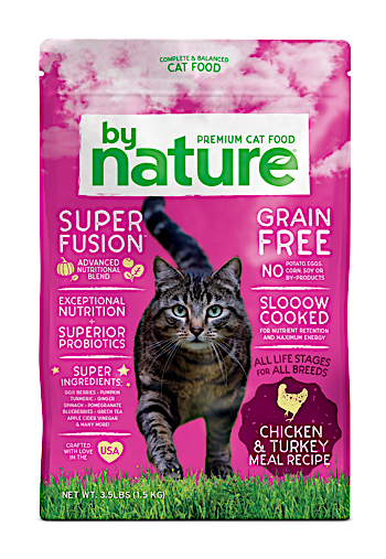 **BOGO CLOSEOUT** ONLY 40 CENTS PER POUND ** By Nature Chicken & Turkey Meal Recipe Cat Food 20 lbs (10/19) NOTE:  Newly formulated food direct from manufacturer comes in White Bags