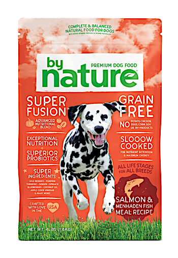 By Nature Salmon & Whitefish Meal Recipe Dog Food 40 lbs (10/19)  NOTE:  Newly formulated food direct from the manufacturer comes in White Bags