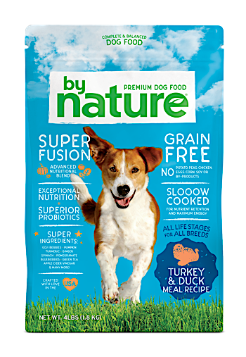 By Nature Turkey & Duck Meal Recipe Dog Food 40 lbs (10/19) NOTE:  Newly formulated food direct from manufacturer comes in White Bags