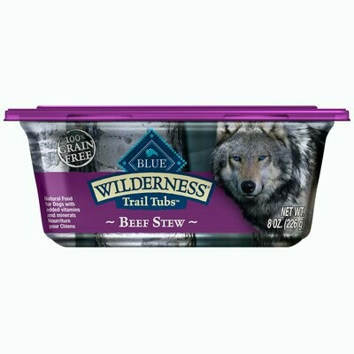 Blue Buffalo Wilderness Trail Tubs Grain-Free Beef Stew Dog Food 8 oz 8 count (8/19) (A.P7-JD)