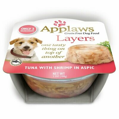Applaws Limited Ingredient Layer Tuna with Shrimp in Aspic natural Dog Food 3.5 oz 6 count (4/19) (A.C4)