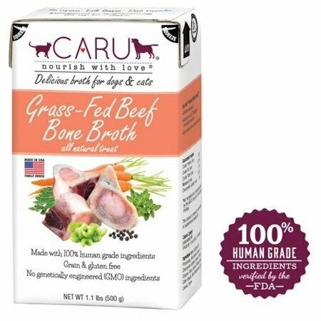 Caru Grain-Free Grass-Fed Beef Bone Broth Dog & Cat Food 17.6 oz  (9/18) (O.J4)