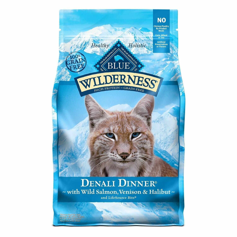 Blue Buffalo Wilderness Denali Dinner Wild Salmon Venison & Halibut Dyr Cat Food 4 lbs