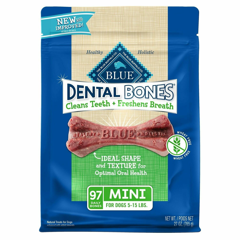 Blue Buffalo Mini Blue Bones Natural Dog Dental Chews, 27 oz. (11/19) (A.P2)
