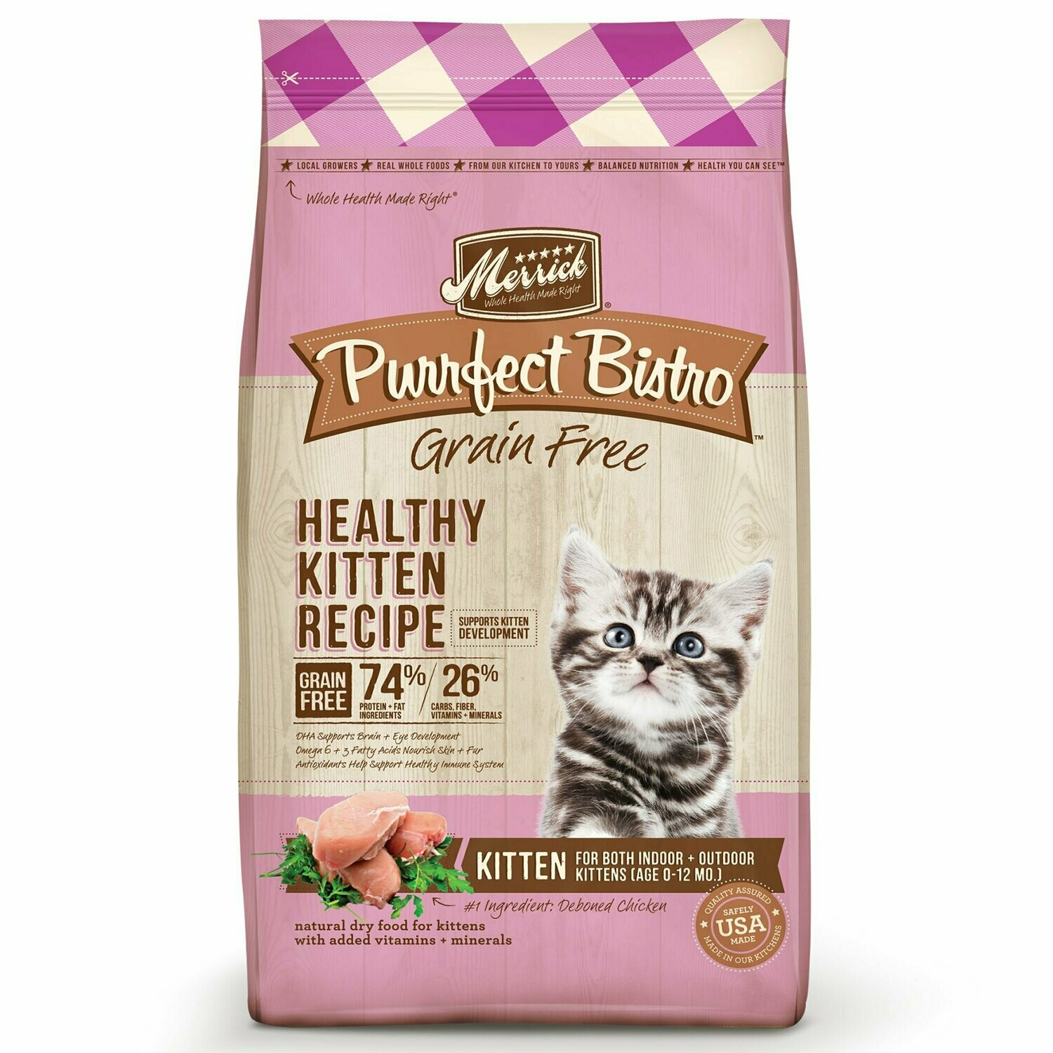 Merrick Purrfect Bistro Grain-Free Healthy Kitten Recipe Dry Cat Food, 7 lb (1/20) (A.N1)