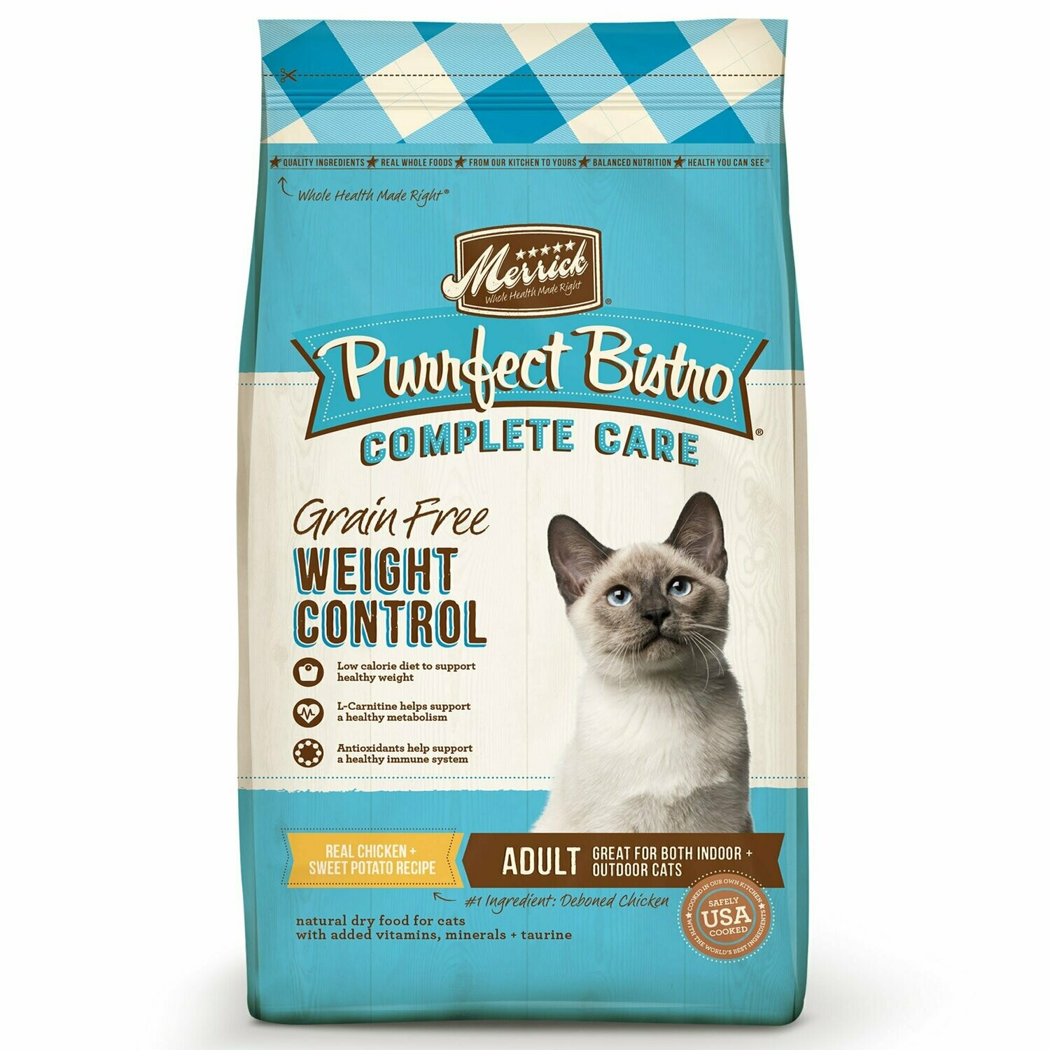 Merrick Purrfect Bistro Grain Free Healthy Weight Adult Cat Food, 4 lbs (1/20) (A.H2)