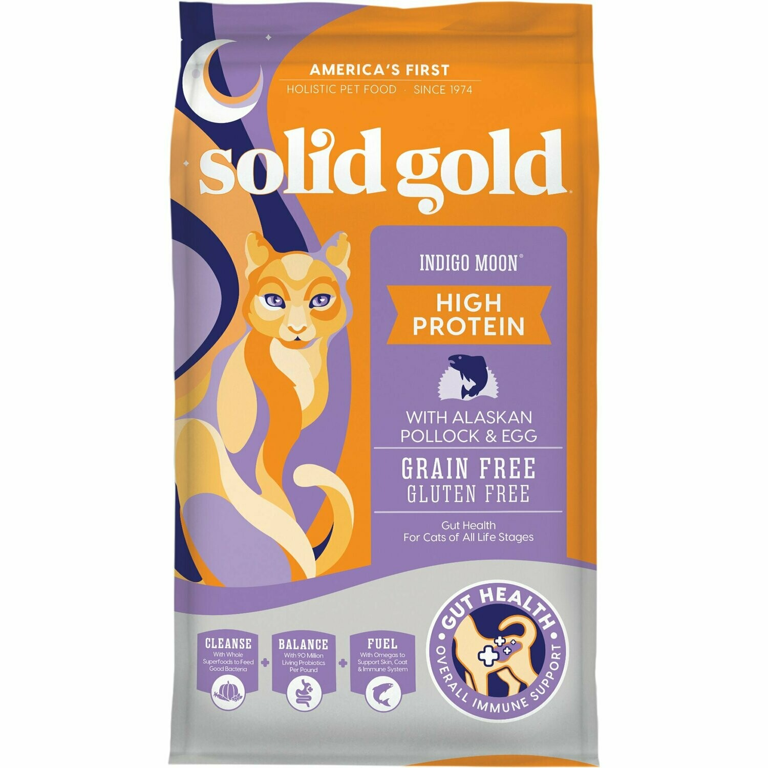Solid Gold Indigo Moon High Protein Dry Cat Food with Alaskan Pollock and Egg, 6 lbs (12/18) (A.N3)
