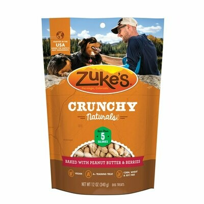 Zuke's Crunchy Naturals Baked with Peanut Butter & Berries Dog treats 12 oz (12/19) (T.E10-JD)