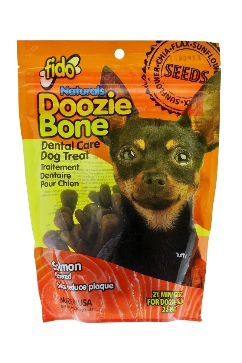 Fido Naturals Doozie Bone Dental Care Dog Treat Salmon Flavored 21 ct. Mini (9/18) (T.G3-JD)