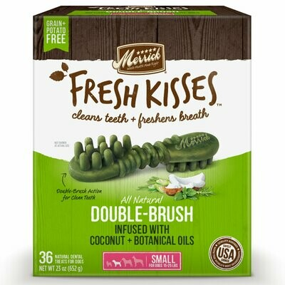 Merrick Fresh Kisses Grain-Free Coconut Oil & Botanicals Small Brush Dental Dog Treat 36 count  (8/19)