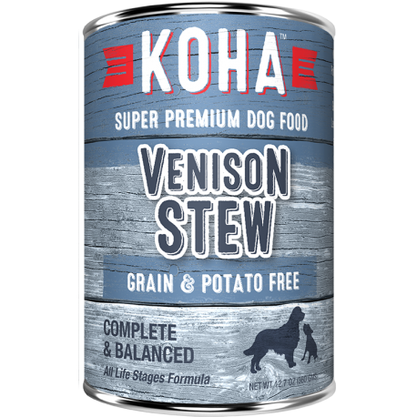 KOHA Grain-Free Venison Stew Wet Dog Food 12.7 oz 12 count (9/20) (A.O4)