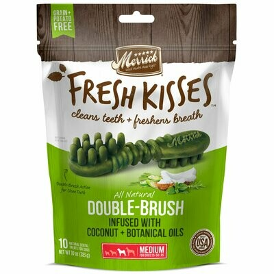 Merrick Fresh Kisses Grain-Free Coconut Oil & Botanicals Double Brush Dental Medium Dog Treats 10 count (12/19) (T.A15)