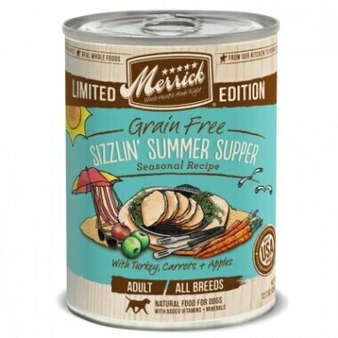 Merrick Limited in addition grain-free sizzling summer supper seasonal recipe with turkey carrots and apples adult all breeds natural wet food for dog 12.7 oz 12 count (4/20)