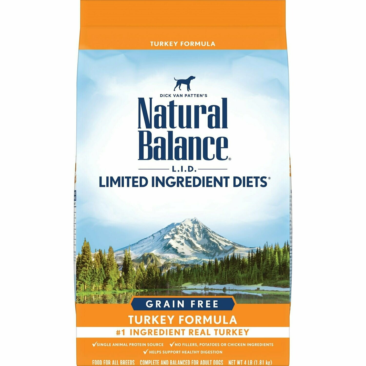 Natural Balance Limited Ingredient Diets High Protein Dry Dog Food, Turkey Grain-Free 4 lbs (1/19) (A.O2)
