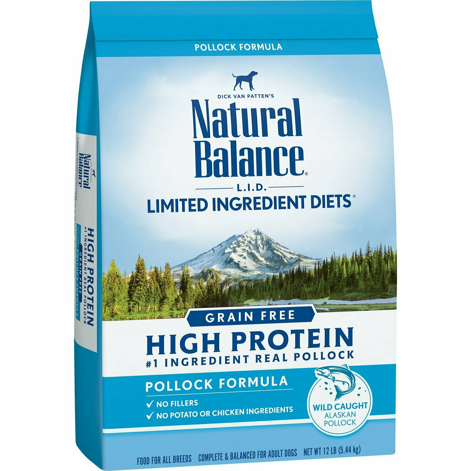 Natural Balance Limited Ingredient Diets High Protein Grain Free Pollock Formula Dry Dog Food 12 lbs (9/19) (A.K2)