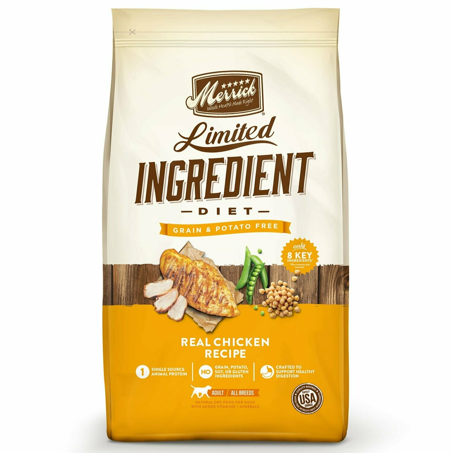 Merrick Limited Ingredient Diet Grain-Free Real Chicken Recipe Dry Dog Food 4 lbs (11/19) (A.C4)